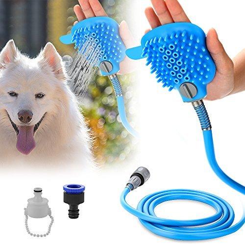 Pulverizador de ducha para mascota, herramienta de baño para perro, alcachofa de ducha y cepillo para polvo en una manguera...