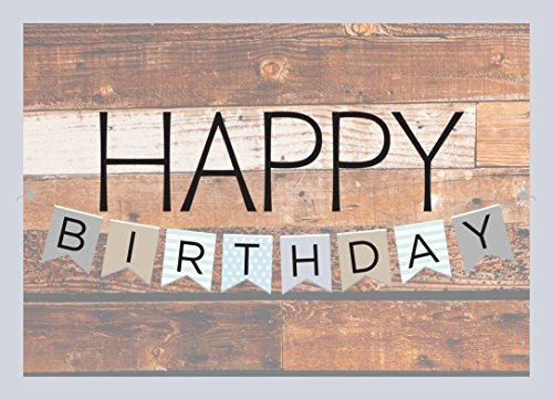 Birthday Greeting Cards - B1602. Business Greeting Card Featuring Happy Birthday on Colorful Flags and Wooden Background. Box Set Has 25 Greeting Cards and 26 Bright White Envelopes.
