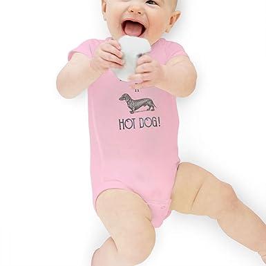 e5a8dacde42d Amazon.com  Hot Dog Cute Daschund Unisex Short Sleeve Jumpsuit Baby ...