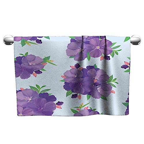 Andasrew Floral Hand Towels Seamless Pattern with Beautiful Purple Princess Flower or tibouchina urvilleana and Leaf on Blue Background,Yoga mat Towel Non Slip for hot Yoga