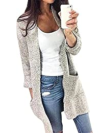 FCYOSO Women's Open Front Long Cardigan - Outwear Long Sleeve Knit Sweater