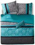 Comforter Bed Set Teen Bedding Modern Teal Black Animal Print Girls Bedspead Update Home (full/queen) by M zone by M zone
