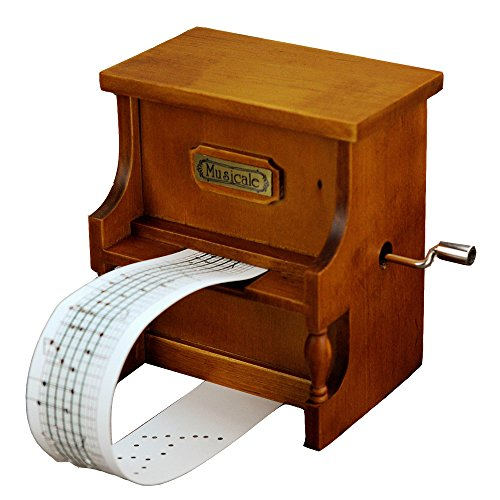 YouTang Wooden Music Box Musical Piano, DIY Make Yr Own Song Include a Punch and 3 Music Papers, 1 Has Musical Note and 2 Are Blank and You Can Create Your Own Song!