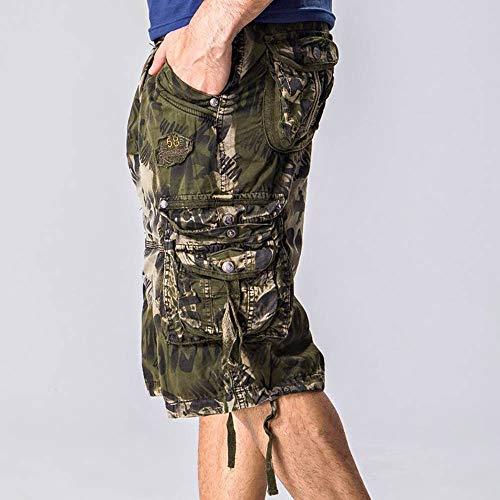 Chino Uomo Lavoro Casual Abbigliamento Pantaloncini Estate Armeegrün Di Festivo Da Spiaggia Pantaloni vO80NnymwP