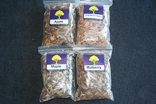 J.C.'s Smoking Wood Chips - Variety 4 Pk - 65 Cu Inch Quart Bags of Apple, Wild Black Cherry, Maple & - Chips Smoking Meat