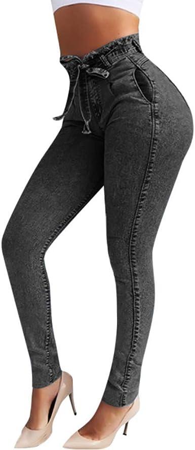 Risthy Jeans Skinny Push Up Mujer Vaqueros Pantalones Elasticos Jeans Denim Largo Mujer Cintura Alta Con Cordon Lazo Vaquero Tejano Para Mujer Elastico Relaxed Fit Amazon Es Ropa