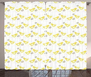 Grey And Yellow Curtains By Ambesonne Vintage Modern Design Birds With Dots Hearts Print Living Room Bedroom Window Drapes 2 Panel Set
