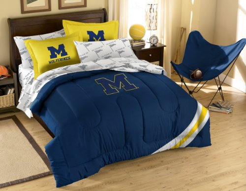 NCAA Michigan Wolverines Full Bed in a Bag with Applique Comforter (Michigan Bedroom Set)