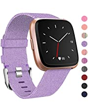 HUMENN Strap for Fitbit Versa, Replacement Woven Wristband with Adjustable Stainless Metal Clasp Watch Straps for Fitbit Versa Smartwatch Large Small, 10 Colours