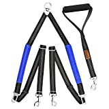 Pawaboo Double Dog Leash, Adjustable No Tangle Dual Dog Walker Reflective Dog Leash Coupler with Soft Handle for Two Dogs, Black and Blue