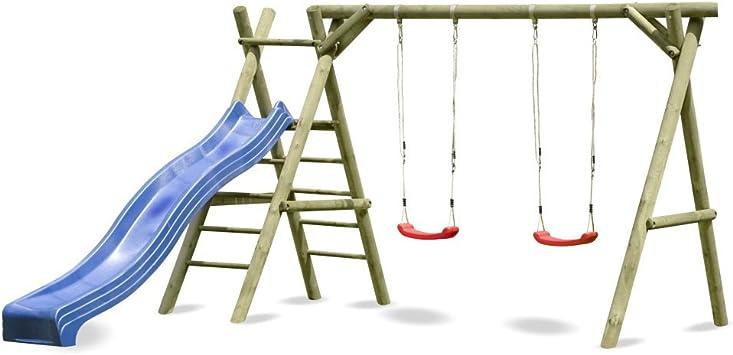 Columpio Classic de jardín con escalera y tobogán 4.2 Azul: Amazon.es: Juguetes y juegos