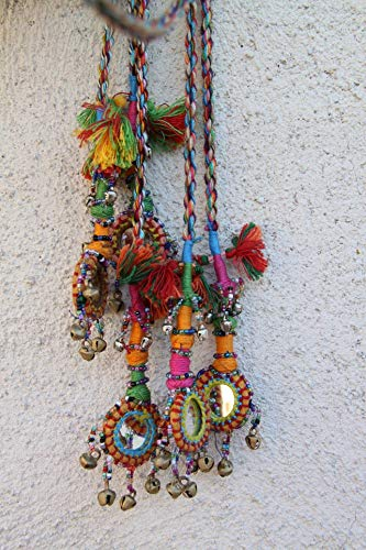 Camel Swag (Small), Multi-Colored Mirrored, Bells Camel Pom Pom, Tassel, Decoration, Boho, Gypsy Fashion Design, Decorating Supplies #WSW_8671 ()