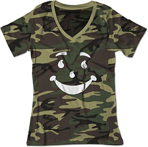 Man Smiley Face Oh Yeah! Juice V-Neck Shirt XL Camo (Drink Kool Aid)