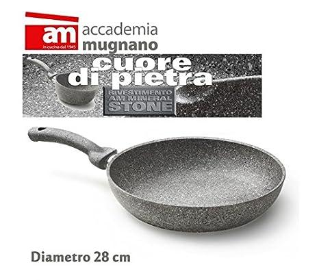Sartén 28 cm de piedra - antiadherente - Accademia Mugnano Linea CUORE DI PIETRA: Amazon.es: Hogar