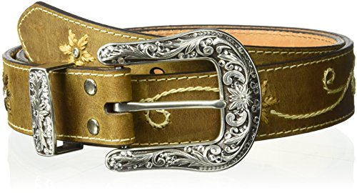 Nocona Belt Co. Women's Nocona Floral Embose Belt, brown, Extra Large