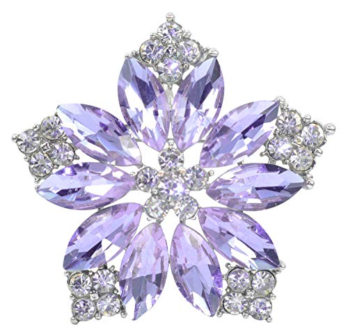Gyn&Joy Womens Diamond Inspired Violet Lavender Purple Floral Pendant Hawaiian Flower Brooch Pin BZ205VP