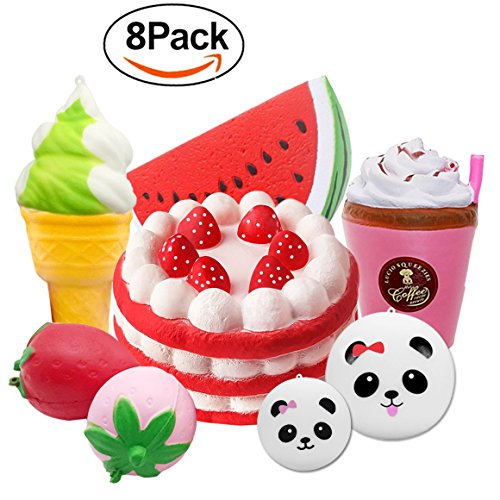 8 Pack Squishies Slow Rising Jumbo Panda Bun Strawberry Birthday Cake Ice Cream Coffee Cup Watermelon Squishy Toy Animal Fruit Food Stress Reliever Cream Scented JingStyle for Boys Girls Gift