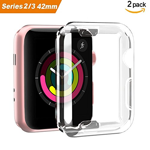 Smiling Apple Watch 3 Case Buit in TPU Screen Protector All-around Protective Case High Definition Clear Ultra-Thin Cover for Apple iwatch 42mm Series 3 and Series 2(2 pack)