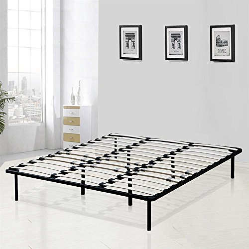 Yaheetech Modern Studio 14 Inch Platform Metal Bed Frame / Mattress Foundation / Wooden Slat Support, Black, King
