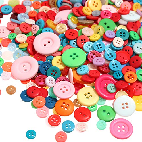 Tatuo 1000 Pieces Buttons Round Craft Resin Buttons for Crafts Sewing Decorations, 2 Holes and 4 Holes (Multi-Color)