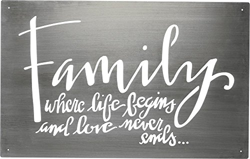 Primitives by Kathy Hand Lettered Metal Wall Art Family Where Life Begins