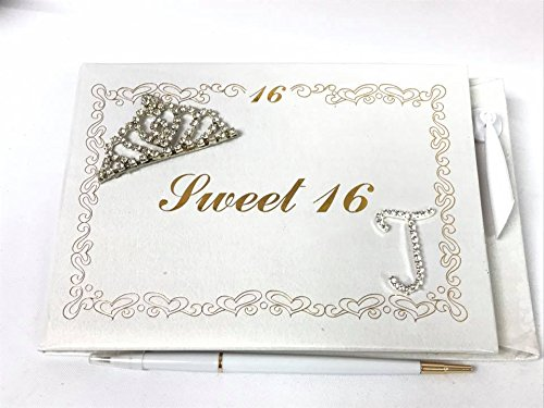 Magnet Sweet 16 (Sweet 16 Guest Book with Tiara Decoration Monogram Letter J Signature Book)