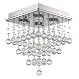 7PM H15' x W11' Square Rain Drop Clear K9 Crystal Ceiling Light Lamp Modern contemporary Chandelier Lighting Fixture for Bathroom Foyer Entry