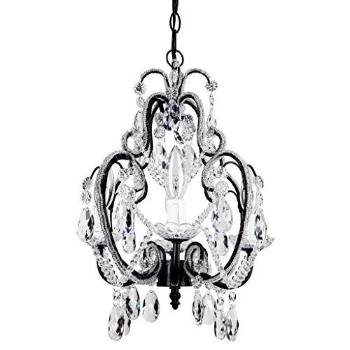 Tiffany Black Crystal Beaded Chandelier, Mini Nursery Plug-In Pendant 4 Light Wrought Iron Swag Ceiling Lighting Fixture Lamp by Amalfi Décor