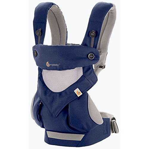 Ergobaby Bundle - 2 Items: French Blue Cool AIr Mesh All Carry Position 360 Baby Carrier and Easy Snug Infant Insert Grey by ERGObaby (Image #1)