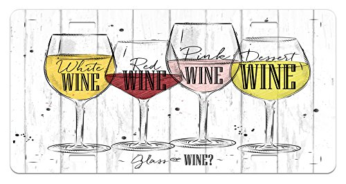 - Wine License Plate by Ambesonne, Four Main Types of Wine with Their Names Glasses Vintage Rustic Wood Backdrop Drawing, High Gloss Aluminum Novelty Plate, 5.88 L X 11.88 W Inches, Multicolor
