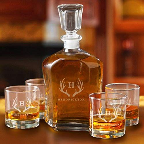 Personalized Whiskey Decanter Set with 4 Low Ball Glasses - Antlers