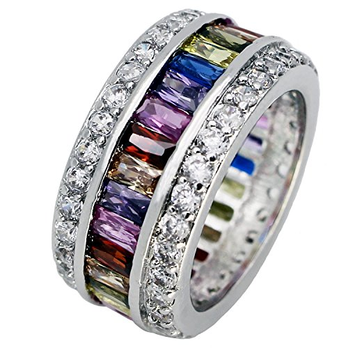 (Promise Wedding Party Multi Gemstone Ring Ruby Morganite Citrine Amethyst White Topaz Pink Topaz Size 6 to12 (9))