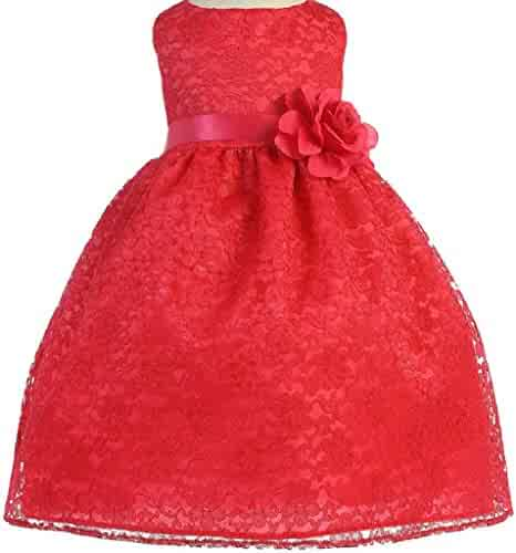cbb7de89c BluNight Collection Lovely Floral Lace Satin Sash Flower Girl Dress Size 2-12  Baby 6M