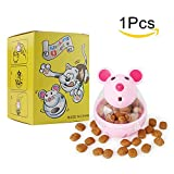BSMTech Interactive Cat Toy - Mouse Tumbler Feeder Food Dispenser - Tumbler IQ Treat Ball - Fill Chew Toy Dispensing Food Toys for Cats (pink)