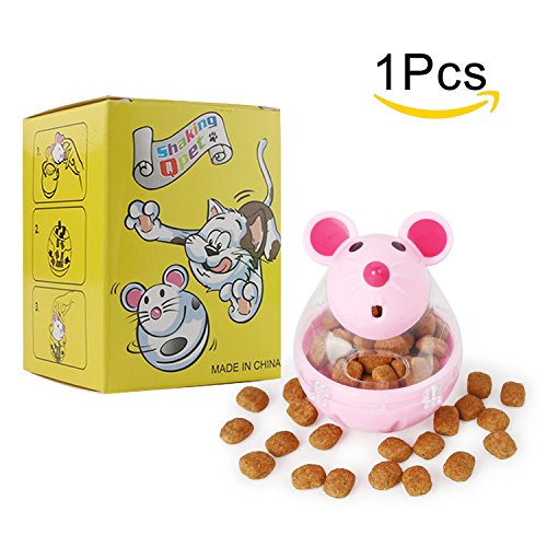 BSMTech Interactive Cat Toy,Mouse Tumbler Feeder Food Dispenser,Tumbler IQ Treat Ball,Fill Chew Toy Dispensing Food Toys for Cats (pink)