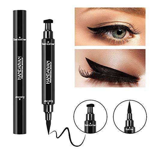 (Lusucat Professional Double-end Waterproof Eyeliner Stamp Pencils Smooth Pigments Long Lasting Black Brand Eye Liner Makeup)