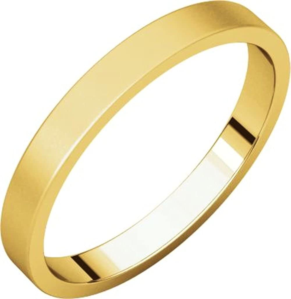 Size 10.5 Bonyak Jewelry 14k Yellow Gold 2.5 mm Flat Band