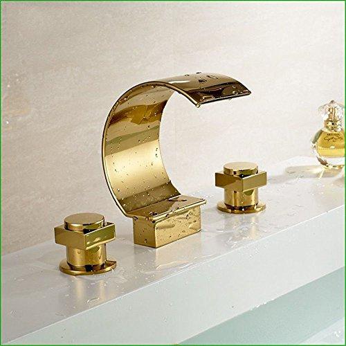 (Gyps Faucet Basin Mixer Tap Waterfall Faucet Antique Bathroom Big Bend triple gold-copper basin faucet basin mixer water cold water taps,Modern Bath Mixer Tap Bathroom Tub Lever Faucet )