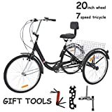 """VANELL 20"""" Foldable Tricycle Bike3 Wheeled Bicycle with Large Size Basket Backrest Seat for Teenager Women Men for Shopping Exercise Recreation"""