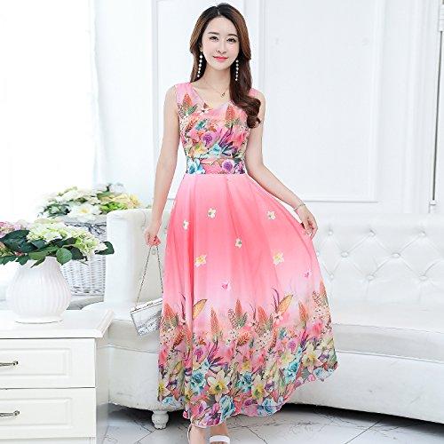 XIU*RONG Nieve De Verano Vestidos De Impresión Textil Gran Patio Con Una Falda Larga De Vacaciones En La Playa Pink