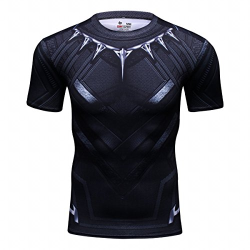 Red Plume Men's Film Super-Hero Series Compression Sports Shirt Skin Running Short Sleeve Tee (M, Panther)