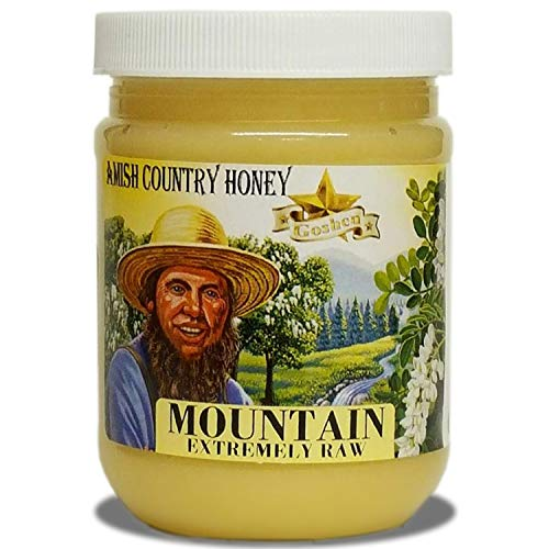 Goshen Honey Amish Extremely Raw MOUNTAIN Honey 100% Natural Domestic Honey with Health Benefits Unfiltered Unprocessed Unheated OU Kosher Certified | 1 Lb Plastic Jar
