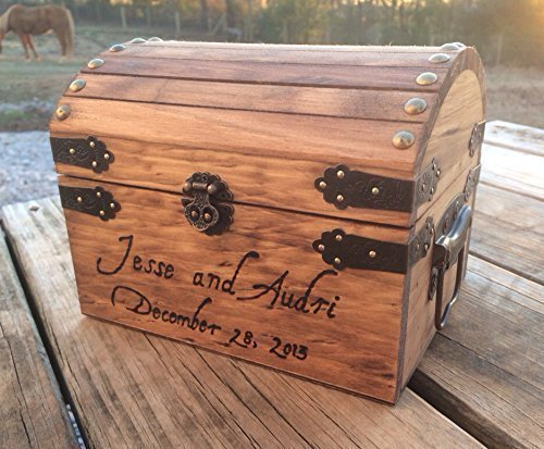 Engraved Wooden Card and Memory Chest - Rustic Wedding Card Chest - Personalized Gift - Rustic Wedding Decor - Wedding Card Holder - Personalized Card (Chest Card Box)