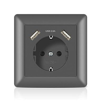 Schuko Enchufe de pared con USB 2.8A Gris, Kaifire Toma de corriente con 2