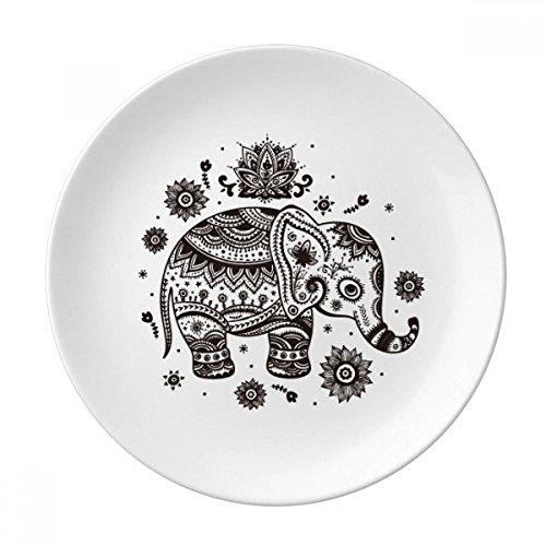 (Nation Elephant Flower Black Blue Animal Dessert Plate Decorative Porcelain 8 inch Dinner Home )