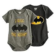 Kids With Character Batman Infant Boys' 2 Piece Short-Sleeve Bodysuit (0-3 Months)