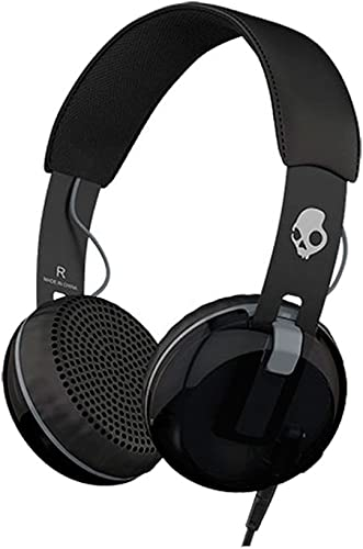Skullcandy Grind On-Ear Headphones with Built-in Mic, Black and Gray
