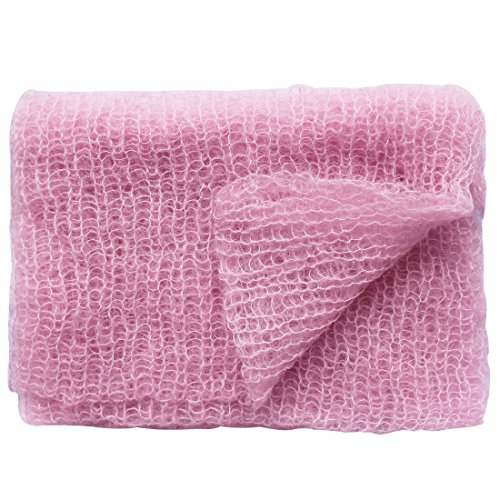 iiniim Newborn Baby Mohair Crochet Knit Wrap Blankets Photography Props Outfits (Pink) (Sixties Outfit)