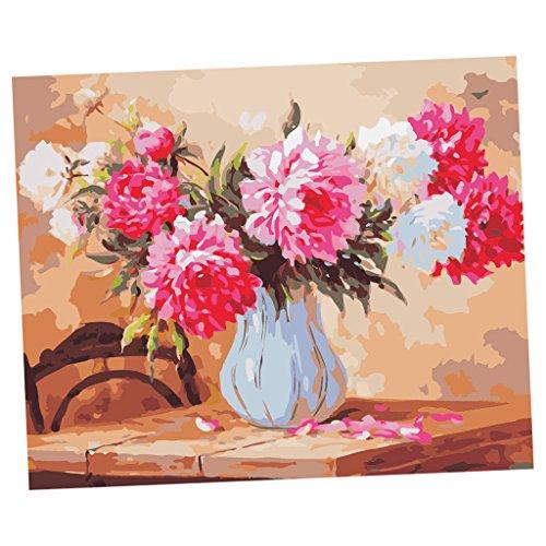 Baosity 飾り ペインティング 塗料付き 絵画 デジタル絵 花 芸術的 キャンバス ペイント