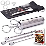 The Sapores Supreme Marinator Set - 2 Ounce 304 Stainless Steel Meat Injector, Baster Grill Brush and Cleaning Brushes - 100% Stainless Steel, BPA Free Food Grade Material